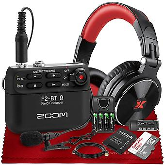 Zoom f2 ultracompact portable field recorder with bluetooth, lavalier microphone, studio headphones, 32gb, battery + charger and more in deluxe bundle