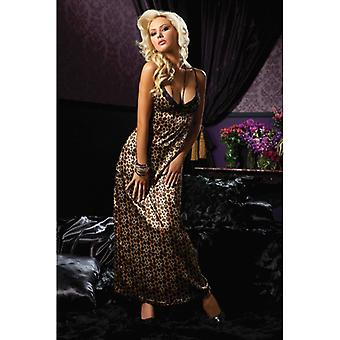 Full Length Leopard Print Gown With Lace Trim Triangle Cup