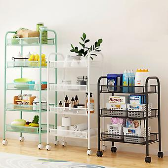 Kitchen Bathroom Trolley Floor Shelf Multi-Layer Removable Storage Rack Space Saving Mobile Storage Rack Organizer with Wheels