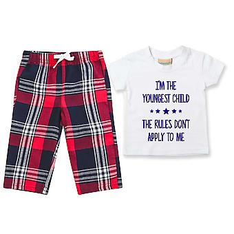 I'm The Youngest The Rules Don't Apply To Me Tartan Hose Pyjamas