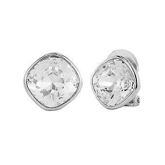 Traveller Clip Earrings - Rhodium plated Swarovski Crystal - 155589