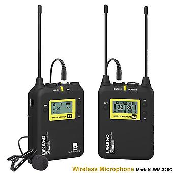 Lesngo transmitiendo multifuncional uhf inalámbrico distante transmiton micrófono lavalier micrófono incorporado 32gb tf ranura para tarjeta