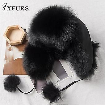 Реальные Фокс Мех шляпы, Зимние женщины енотовидная собака бомбардировщик шапки, Авиатор Траппер Снег
