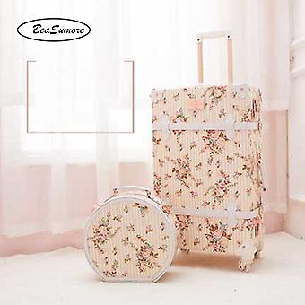 Pu Leather Rolling Luggage Sets, Spinner Vintage Women Suitcase, Wheel Trolley,