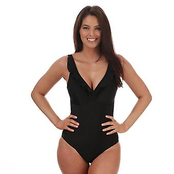 Costume da bagno Speedo Sculpture Ruffle da donna in nero