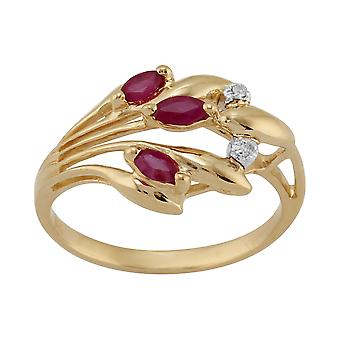 9ct Yellow Gold 0.24ct Ruby & Diamond Contemporary Floral Ring