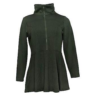 Women with Control Women's Petite Top Half Zip Jersey Green A391044