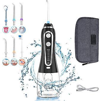 Filo d'acqua cordless per denti con palla gravitazionale, 5 modalità 6 water jet dental floss IPX7 (nero)