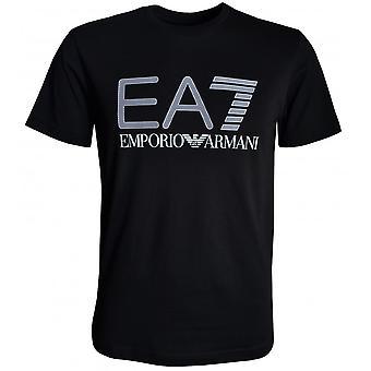 EA7 svart T-skjorte til herre med hvit signaturlogo