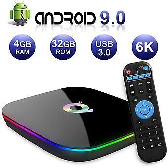 Android TV Box , Q Plus Android 9.0 TV Box 4Gb RAM / 32Gb ROM H6 Neliytiminen Tuki 2.4Ghz WiFi 6K HDMI DLNA 3D Smart TV Box (Musta)