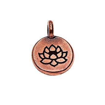 Pewter TierraCast, Charm rotondo fiore di loto 16.5x11.5mm, 1 pezzo, placcato in rame anticato
