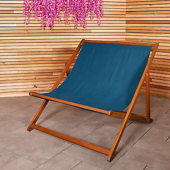 Charles Bentley FSC Eucalyptus Wooden Double Deck Chair for Outdoors and Garden FSC Wood Polyester