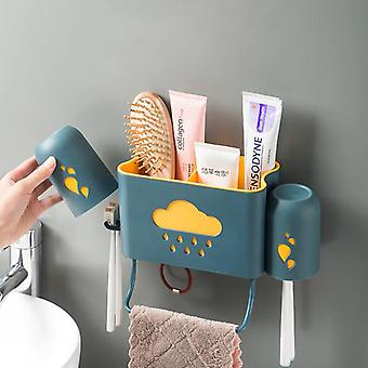 Creative Wall Mounted Double Cup Toothbrush Holder Detachable Shelf Hook |Toothbrush Holders