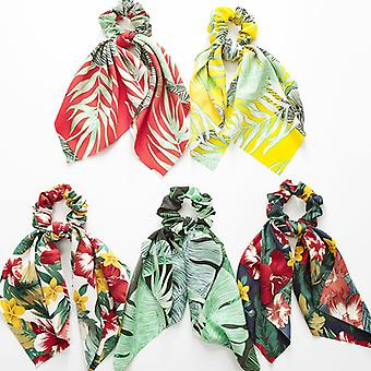 5pcs Floral Hair Tie Ponytail Holders For Women Girl