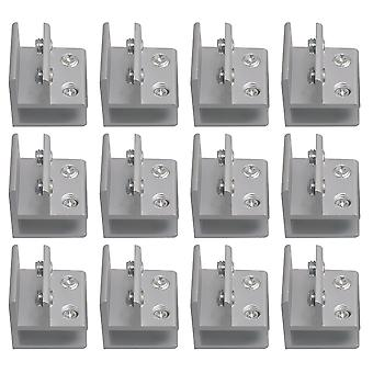 12PCS Silver Aluminum Glass Clamp Bracket 90 Degree for 8-12mm Thickness