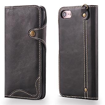 Echte lederen portemonnee geval kaartsleuf voor iphone7/8 zwart no3455