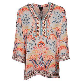 K-design Orange Long Sleeve Lightweight Floral Print Tunic Top