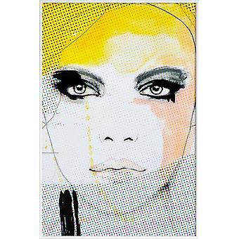 JUNIQE Print - Ruse - Mode illustration affisch i gul & svart