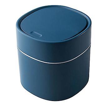 Mini Small Waste Bins Desktop Garbage Basket Office Supplies Dustbins Sundries Barrel Box(Blue)