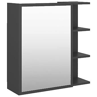 vidaXL Badkamer Spiegelkast Grijs 62,5x20,5x64 cm Spaanplaat