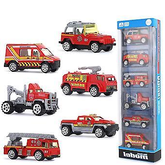6Pcs合金消防車、子供の教育玩おもちゃシミュレーション車az9283