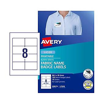 Avery Laser Label Fabric Name Badge L7418 8Up Pack Of 15