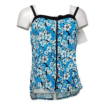 Fit 4 U Women's Swimsuit Reg Bandeau Zip-Front Tankini Top Blue A394010