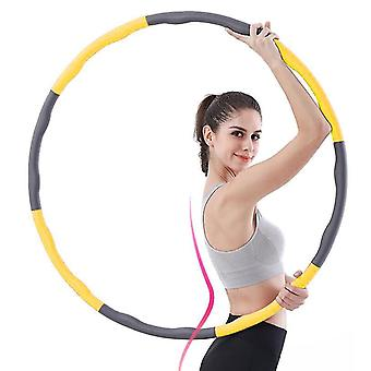 Fitness Hula Hoop For Weight Loss And Massage, Removable 8 Segments Hoola Hoop Suitable(Yellow Gray)