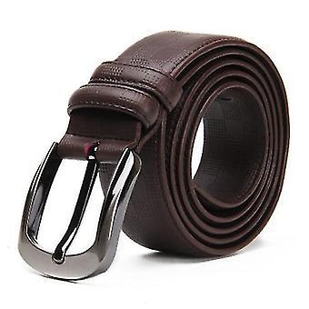 Men's Belt, Classic Leather Fashion Grain Leather Casual Cowhide Belt 120cm Long(Brown)