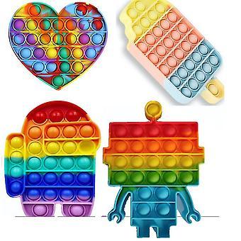 4pcs עניבה לצבוע קשת קוביות סיליקון שחול לדחוף פופ בועות להגדיר צעצועים הקלה מתח