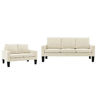 vidaXL 2 pcs. Sofa set cream imitation leather