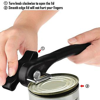 Manual Tin Can Opener Safe Cut Lid Smooth  Edge Side Stainless Steel Tools