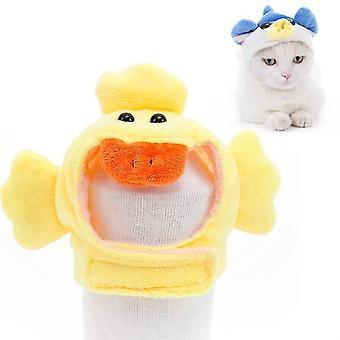 4 Stück weiche Katze Kopfbedeckung Katze Hund Kreuz Kleid Haustier Hut, Größe: M(gelbe Ente)