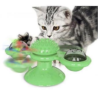 Tuulimylly kissaleleu kellot interaktiivinen lelu imukuppi (vihreä)