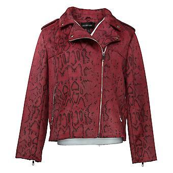 Colleen Lopez Vrouwen gedrukte Faux Suede Moto Jacket Rode 665563