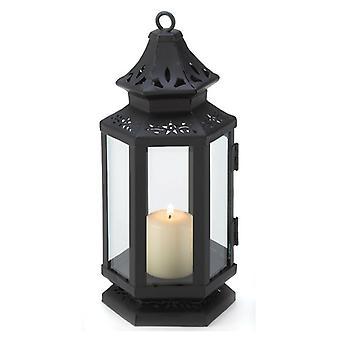 Galleri av lys viktoriansk stil svart stearinlys lykt - 8 inches, pakke med 1