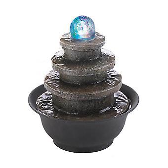 Kaskadfontäner ljust sten-look tiered runda bordsvattenfontän, packning av 1