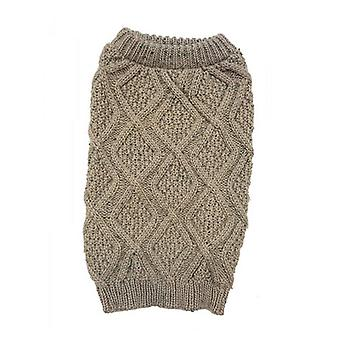 """Outdoor Dog Fisherman Dog Sweater - Taupe - X-Small (8""""-10"""" Neck to Tail)"""