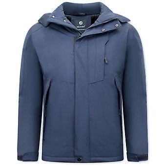 Sporty Windproof Winter Coat - Blue