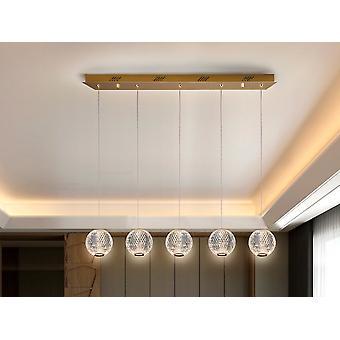 Schuller Austral Modern Bar 5 Licht LED Hängende Pendelleuchte, kugelförmig geschnitzte Kristallkugeln, 1264lm, 3200K