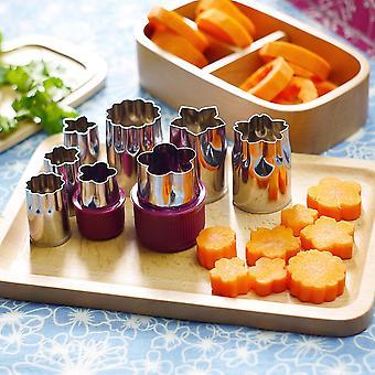 Set Of 8pcs Flower Shape Rice Cookie Cake Vegetable Fruit Cutter Mold Diy