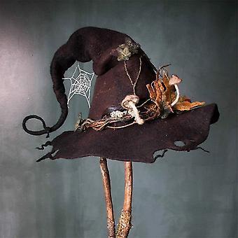 Kvinnor Halloween Cosplay Party Maskerad Filt Witch Hat Costume Prop Fancy Klänning