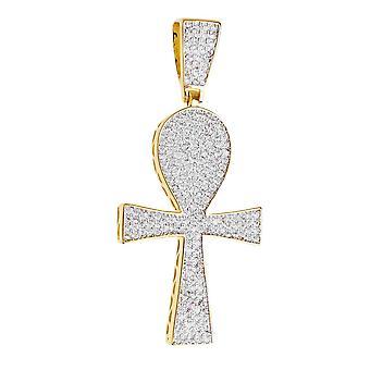 Prémio Bling - prata esterlina 925 Ankh Cruz pingente-ouro