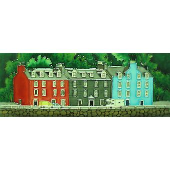 YH-Arts Ceramic Wall Art, Colourful Cottages 16 x 6