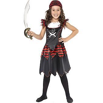 Pirat Totenkopf gekreuzte Knochen Mädchenkostüm Kleid Kopftuch