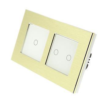 Я LumoS золото матовый алюминий, двойные рамы 3 банды 2 способ коснуться светодиод переключение белой вставкой