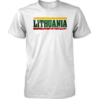 Litauen Grunge Land Name Flag Effect - T-Shirt für Herren