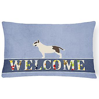 Bull Terrier Welcome Canvas Fabric Decorative Pillow