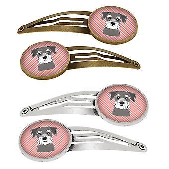 Dambord roze Schnauzer Set van 4 haarspeldjes Hair Clips