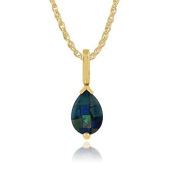Classic Pear Opal Triplet Pendant Necklace in 9ct Yellow Gold 123P0117249